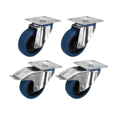 Coldene Heavy Duty Castor Pack - 2 x Swivel, 2 x Swivel Braked - 240kg Maximum Weight - Blue)