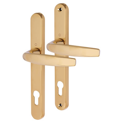 Hoppe Atlanta Multipoint Handle - uPVC/Timber - 92mm centres - 70mm door thickness - Polished Brass