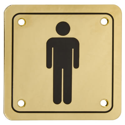 Mens Square Toilet Door Sign - 100 x 100mm - Brass Plated)