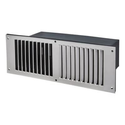 Floor Vent - 267 x 95 x 125mm - 11000mm2 Free Air Flow - Polished Stainless Steel