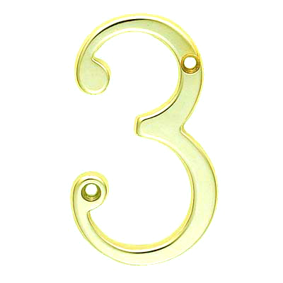76mm Numeral - 3 - Stainless Brass PVD