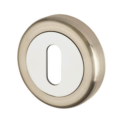 Morello Escutcheon - Keyhole - Satin Nickel/Polished Chrome