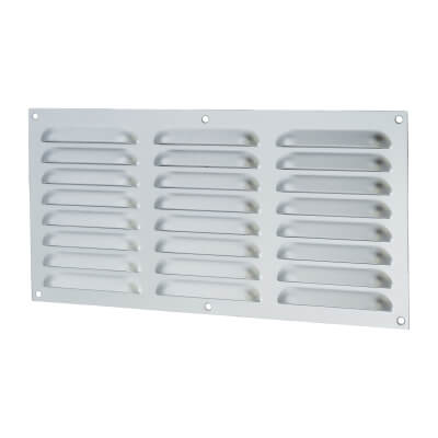 Hooded Louvre Vent - 305 x 152mm - 11610mm2 Free Air Flow - Satin Aluminium)