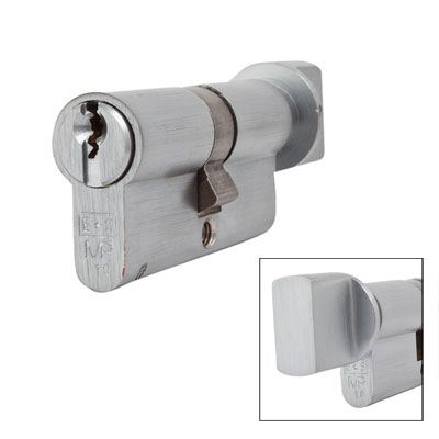 Eurospec MP10 - Euro Cylinder and Turn - 32[k] + 32mm - Satin Chrome  - Keyed Alike)
