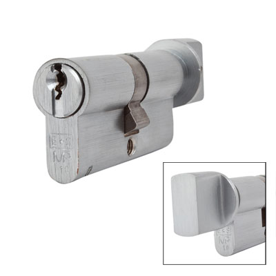 Eurospec MP10 - Euro Cylinder and Turn - 32[k] + 32mm - Satin Chrome  - Keyed to Differ)