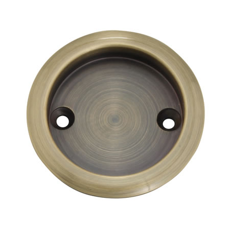 KLÜG Round Screw Fixed Flush Handle - 63mm - Antique Brass