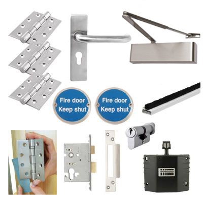 Heavy Duty Lever on Backplate Fire Door Kit with Hold Open Device - Stainless Steel