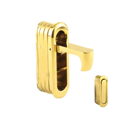 Door Edge Finger Pull - 58 x 18 x 18mm - Polished Brass)