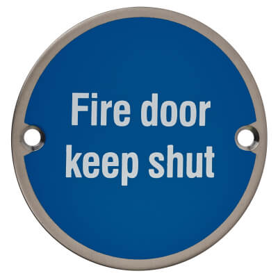 Fire Door Keep Shut - 75mm - Satin Stainless Steel)