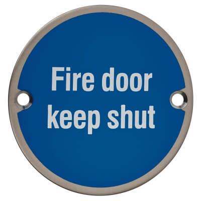 Fire Door Keep Shut - 75mm - Satin Stainless Steel)