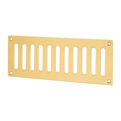 Plain Slotted Vent - 242 x 89mm - 4800mm2 Free Air Flow - Polished Brass