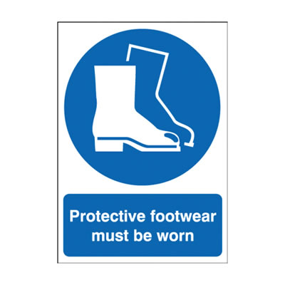 Protective Footwear Must Be Worn - 420 x 297mm - Rigid Plastic)