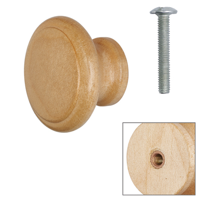 Cabinet Knob - Maple Lacquered - with Bolt & Insert - 35mm - Pack of 5