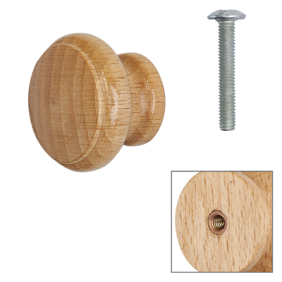 Cabinet Knob - Beech Lacquered - with Bolt & Insert - 25mm - Pack of 5