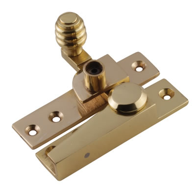 London Beehive Pattern Locking Fastener - 20mm - Polished Brass