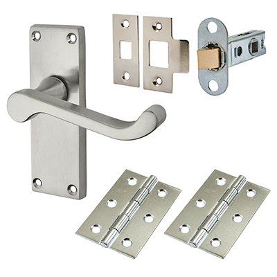 Touchpoint Budget Scroll Door Handle Kit - Latch Set - Satin Chrome)
