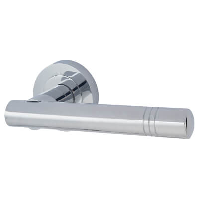 Touchpoint Dakota Lever Door Handle on Rose - Polished Chrome