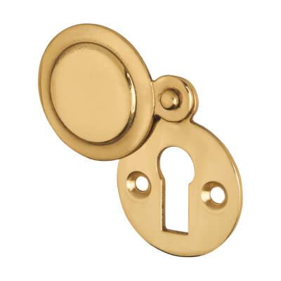 Victorian Covered Escutcheon - Keyhole - Polished Brass)