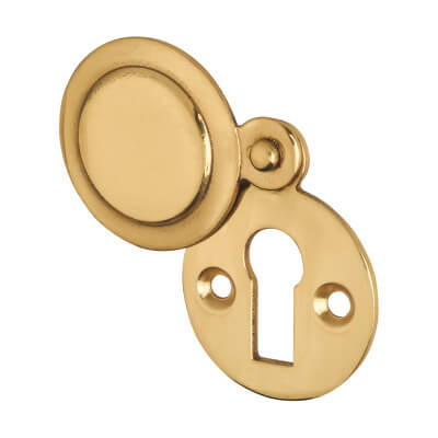 Victorian Covered Escutcheon - Keyhole - Polished Brass