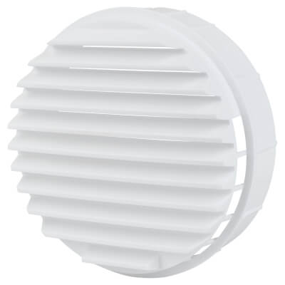 Push Fit Round Vent - 124 x 43mm - 8000mm2 Free Air Flow - White Plastic