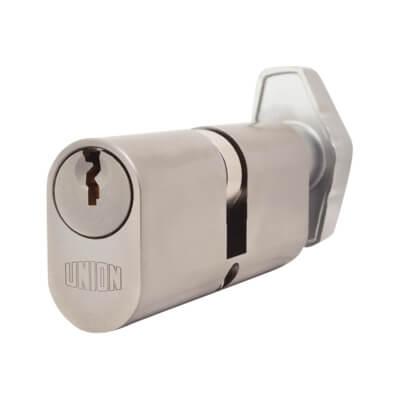 UNION® J2X13 Oval Thumbturn Cylinder - 37[k]* + 37mm - Satin Chrome