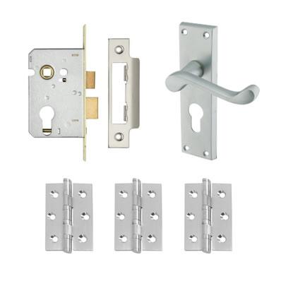 Aglio Victorian Scroll Handle Door Kit - Euro Lock Set - Satin Chrome