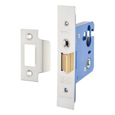 A-Spec Architectural Mortice Nightlatch - 76mm Case - 57mm Backset - Brushed Stainless