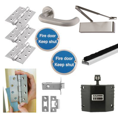 Heavy Duty Lever on Rose Fire Door Kit with Hold Open Device - Latch - Stainless Steel