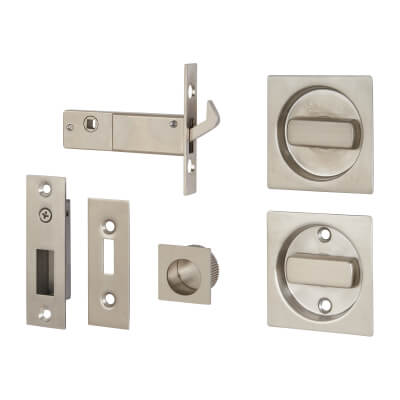 KLÜG Square Flush Handle Set with Latch - Stainless Steel Grade 304 - Satin)