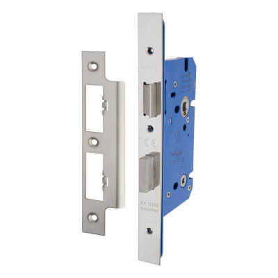 A-Spec Architectural DIN Bathroom Lock - 85mm Case - 60mm Backset - Polished Stainless