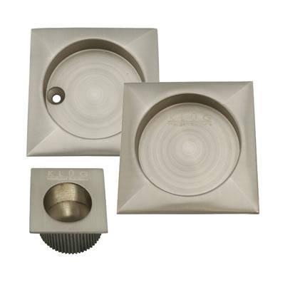 KLÜG Square 3 Piece Flush Handle Set - Satin Nickel)