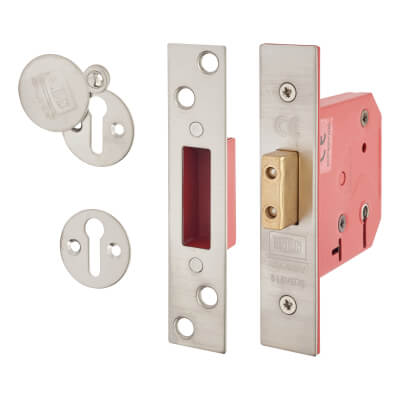 UNION® 2101 5 Lever Deadlock - Keyed Alike - 65mm - 44.5mm Backset - Satin Chrome