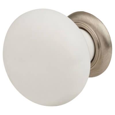 Crofts & Assinder Montpellier Cabinet Knob - 35mm - White/Stainless Steel