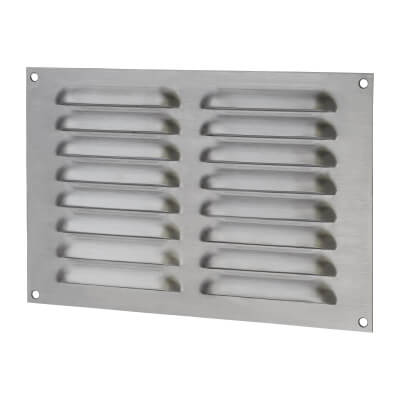 Hooded Louvre Vent - 229 x 152mm - 6650mm2 Free Air Flow - Satin Stainless