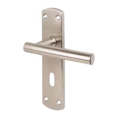 Steelworx Mitred-T CSL Door Handle - Lock Set - Satin Stainless Steel