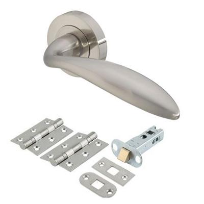 Touchpoint Morgan Lever Door Handle on Rose - Door Kit - Satin Nickel