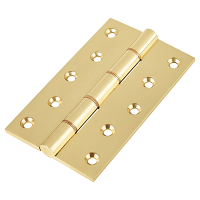 Double Phosphor Bronze Washered Hinge - 127 x 75 x 4mm - Polished Brass - Pair