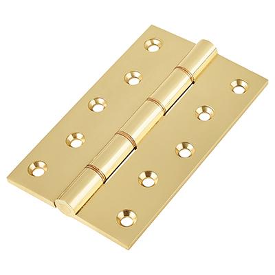 Double Phosphor Bronze Washered Hinge - 127 x 75 x 4mm - Polished Brass