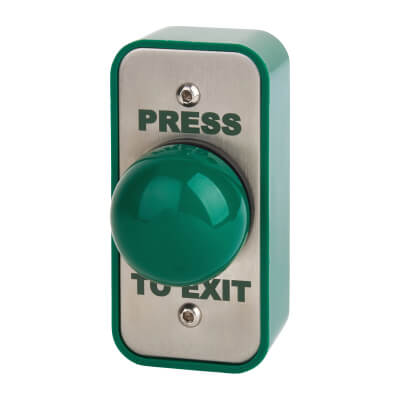 Stainless Steel Egress Switch and Green Dome - 89 x 43 x 50mm - Narrow