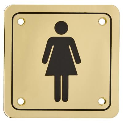 Ladies Square Toilet Door Sign - 100 x 100mm - Brass Plated)