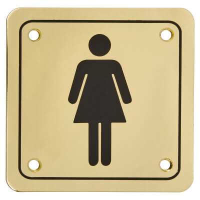 Ladies Square Toilet Door Sign - 100 x 100mm - Brass Plated