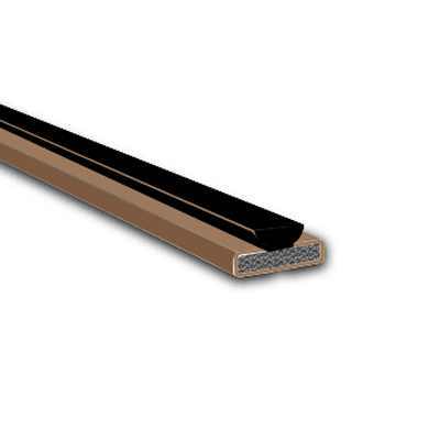 Pyroplex Fire & Smoke Intumescent Strip - 15 x 4 x 2100mm with Brush Pile - Brown - Pack 10)