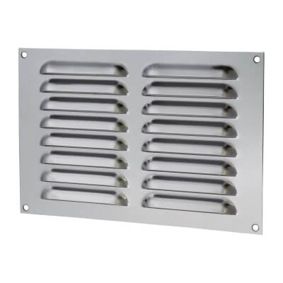 Hooded Louvre Vent - 229 x 152mm - 6650mm2 Free Air Flow - Polished Stainless)