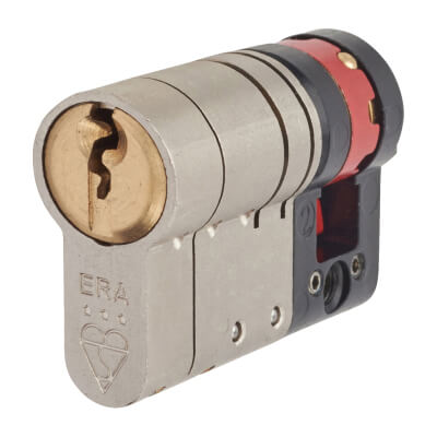 ERA 3 Star Fortress Cylinder - Euro Single - Length 50mm - 40 + 10mm - Nickel and Brass