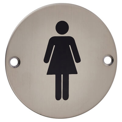 Ladies Toilet Sign - 75mm - Satin Stainless Steel)