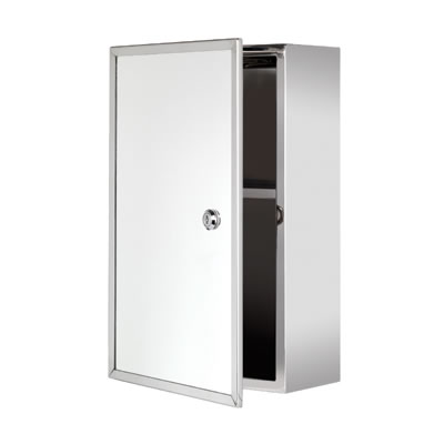 Croydex Trent Lockable Medicine Cabinet - Stainless Steel - 400 x 250 x 130mm)