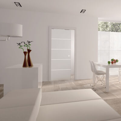 Eclisse 8mm Righe Patterned Glass Single Pocket Door Kit - 125mm Wall - 762 x 1981mm Door Size