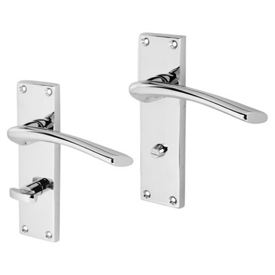 Touchpoint Rimini Door Handle - Bathroom Set - Polished Chrome)