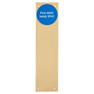 Finger Plate - Fire Door Keep Locked - 300 x 75mm - Polished Brass