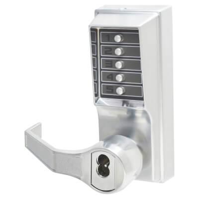 Kaba Unican Digital Panic Operator Mechanical Lever - Left Hand - Satin Chrome)
